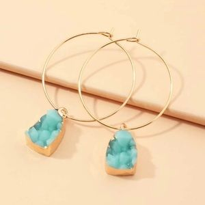 LAST! Turquoise druzy delicate hoop earrings